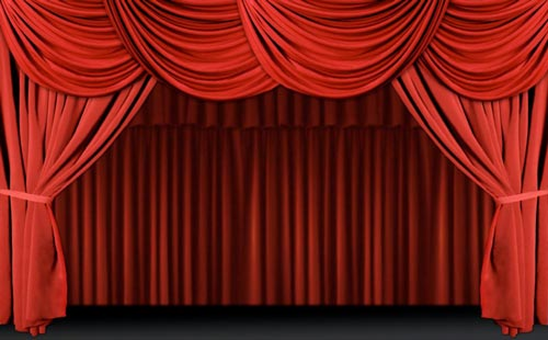 stage curtains red